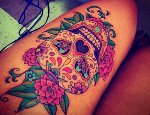 Skull tattoo image 1562983 by aaron s on for Mexican girl tattoos