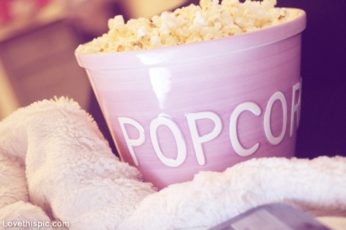 bed, bedroom, blanket, food, food photography, girly, love, lovely, movie, movie night, movies, pastel, photography, picoftheday, pop corn, popcorn, purple, room, sweet, yum, yummy