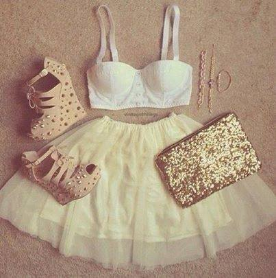 clothes, clutch, crop top, heels, love, purse, skater, skirt, summer, wedges, cool outfits