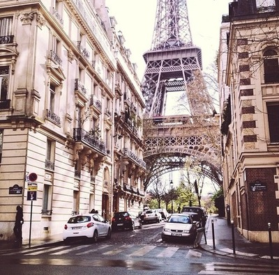 beautiful, buildings, cars, eiffel tower, europe, france, paris, paris france, photography, road, street, travel, trees