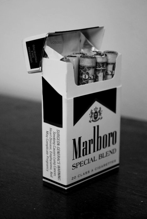 black and white, box, cigarettes, grunge, marlboro, money