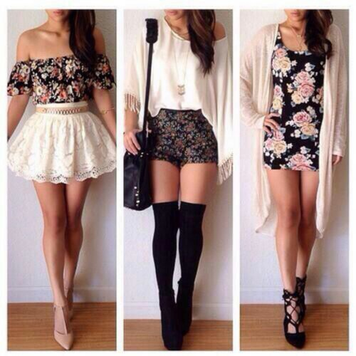 bag, cute, dress, fashion, floral, girl, girly, high heels, lace, outfits, shoes, skirt, style, summer, sweater