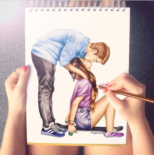 amazing, boy, couple, cute, draw, drawing, girl