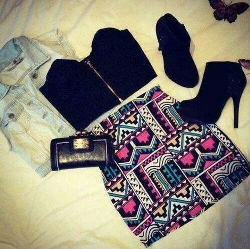 bag, outfit, shoes, skirt, fashion, jacket, top, design