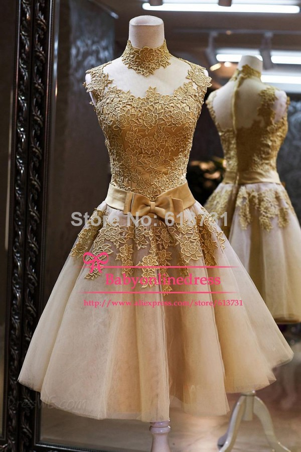cocktail dress, gold dress, homecoming dress and lace dress
