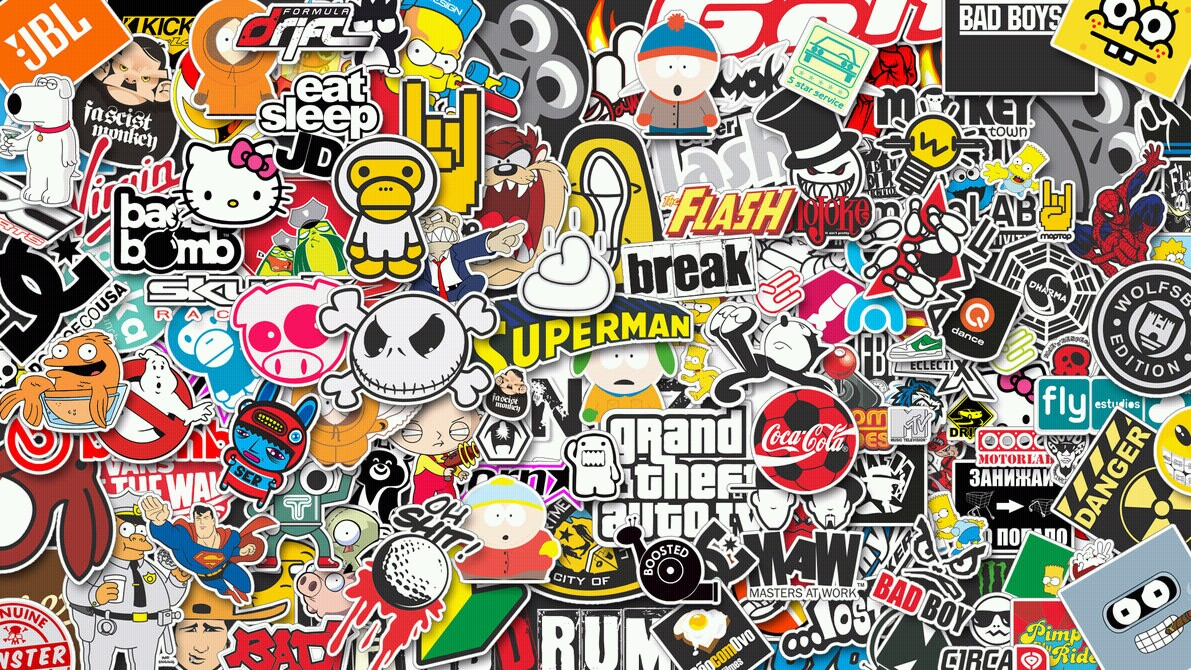 bad boy, bender, break, cocacola, colors, danger, dc, drift, eat, epic, fabulous, flash, gta, hello kitty, infinity, jd, perfect, poop, run, shit, simpsons, skull, sleep, south park, spiderman, spongebob, superman, wonderful, stickerbomb, amf