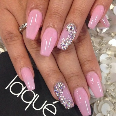 hot pink nails with diamonds-#36