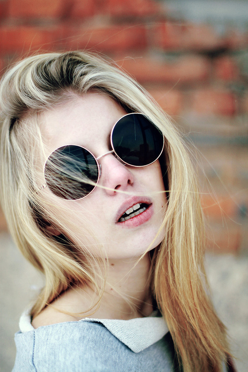 beauty, blonde, girl, glasses, hair, sad, sadness