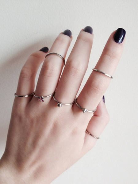 black, hand, nails, rings