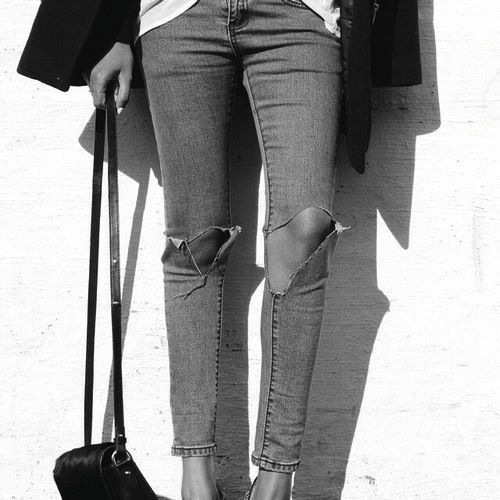 bag, black and white, fashion, heels, jeans, outfit, ripped, style