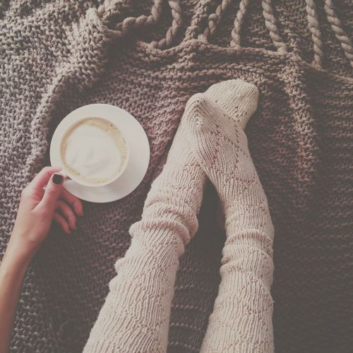 autumn, coffee, cozy, fall, legs, socks, warm, winter