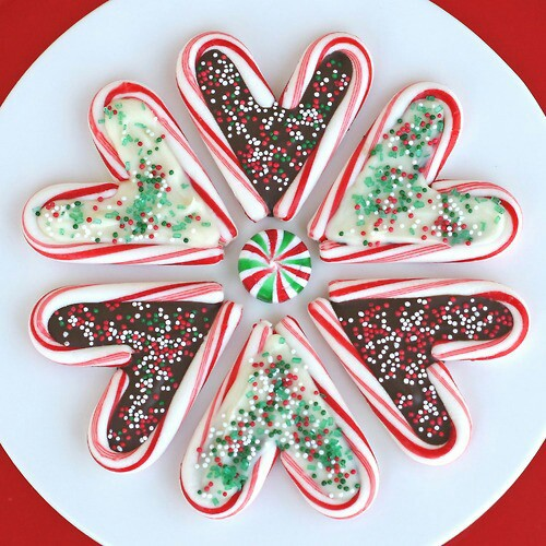 candy canes, chocolate, christmas and hearts