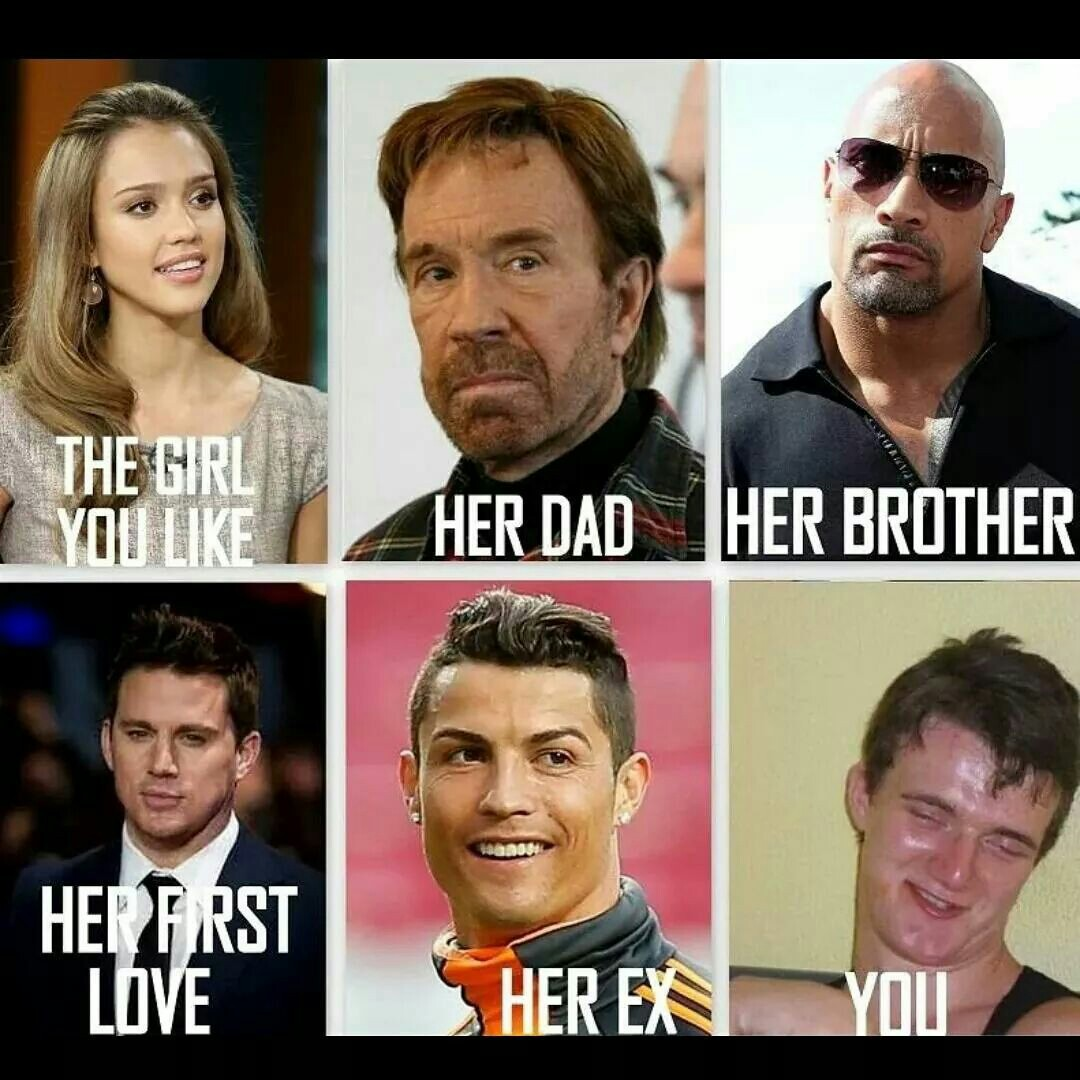 big rock, boyfriend and girlfriend, channing tatum, christiano ronaldo, couple, crush, first love, funny, jessica alba, lol, love, you, her brother, her ex, chuck noriss, her dad