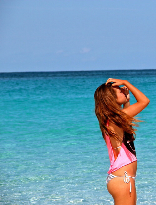 Beach Blue Forever Young Girls Girly Grunge Hairstyle Ocean Pink Sea Sky Summer