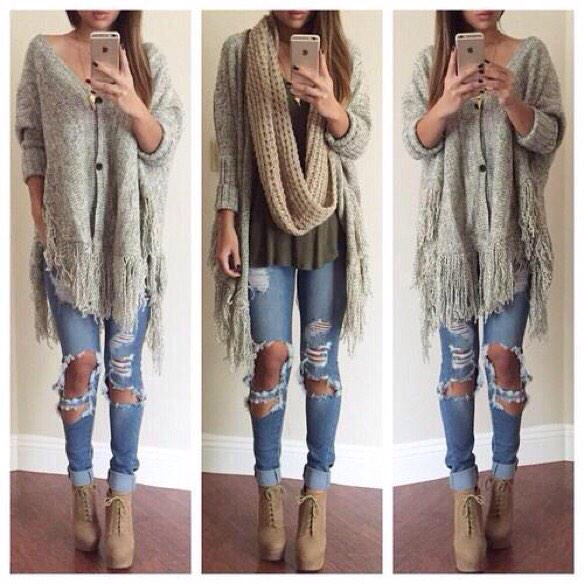 boots, coat, fashion, girl, heels, jeans, look, looks, outfit, outfits, ripped jeans, shoes, style, top, winter