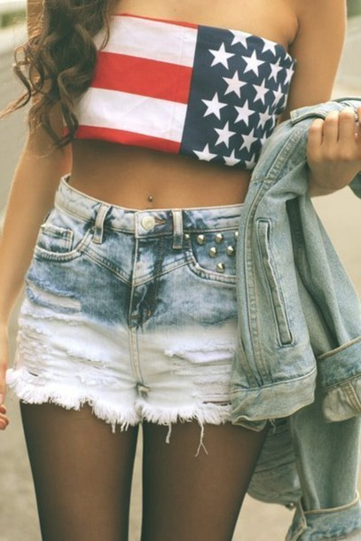 american flag, clothes, crop top, denim shorts, dip dye, fashion, ombre, outfit, studded, summer, usa flag