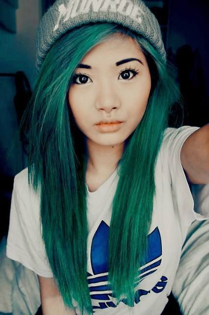 Green Straight Knit Hat Dyed Hair Image 2461482 By