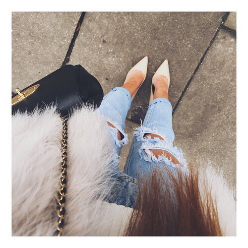 bag, boyfriend jeans, fashion, faux fur, girl, heels, high heels, jeans, long hair, look, ripped, ripped jeans, style