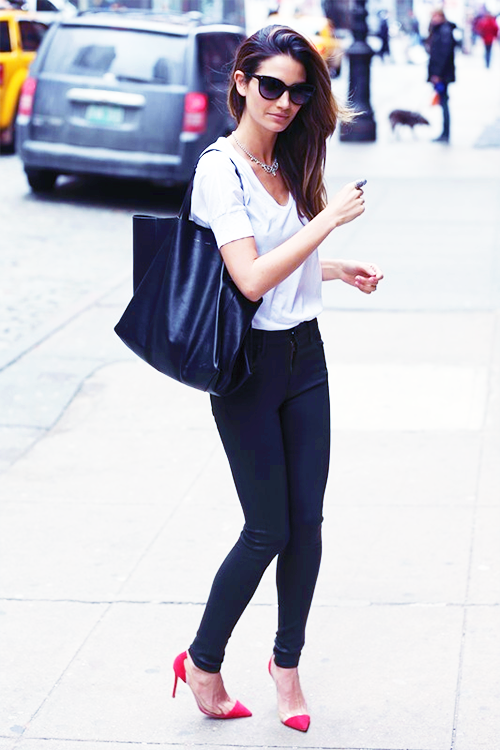 amazing, chic, cute, gorgeous, jeans, lily aldridge, simple, stilettos, street, style