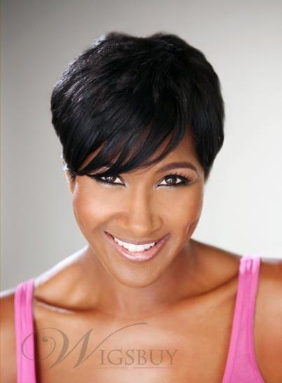... Top Quality 100% Real Human Hair Short Straight African American Wigs