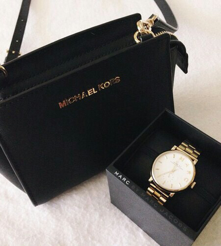 bag, beautiful, black, clock, gold, marc jacobs, michael kors, mk