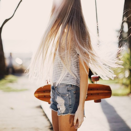 beautiful, blonde, brandy melville, casual, comfy, distressed, fashion, girl, hair, long hair, love, model, ombre, outfit, penny board, pretty, shorts, straight hair, summer time, tan