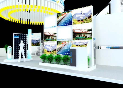 Exhibition Booth Concept : Linuo shanghai china english booth design solar