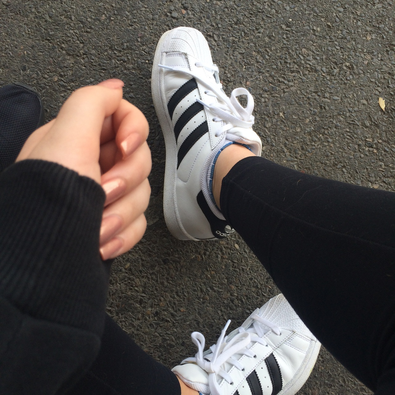 adidas, aesthetic, black, clothes, dark, fashion, girl, grunge, hands, kicks, light, nails, nike, outfit, path, road, shoes, superstars, white