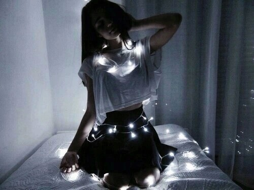 and white, black, dark, girl, glowing, goals, lights, tumblr