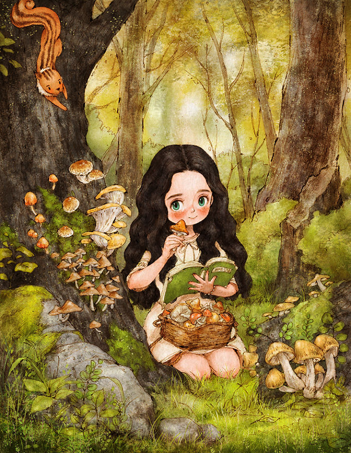 art, cute, drawings, forest, girl, illustrations, in the forest, mori, mori girl, mushroom, forest lady