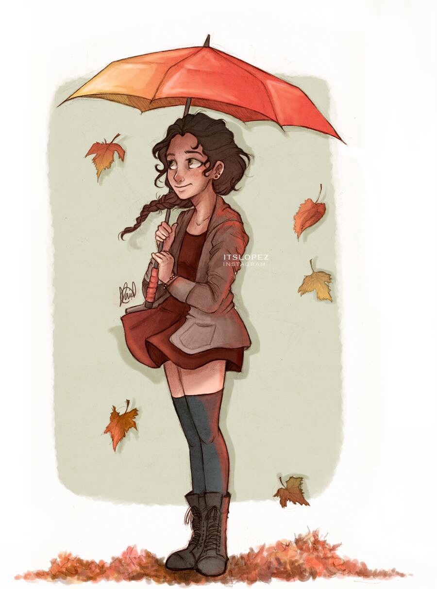 amazing, art, autumn, beautiful, brown, cute, draw, dress, drew, girl, hair, original, pretty, umbrella, itslopez