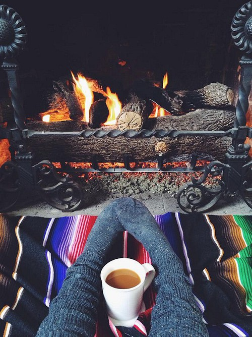 autumn, coffee, cozy, fall, fireplace, socks, warm, winter