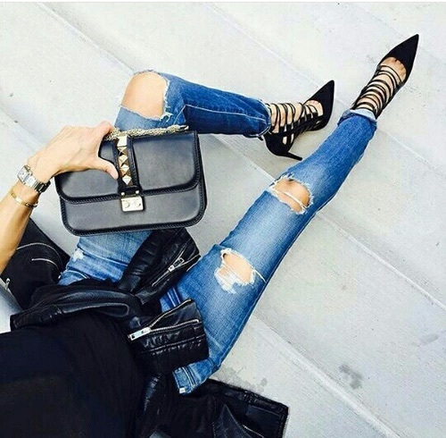 bag, high heel, outfit, ripped jeans, shoes, style