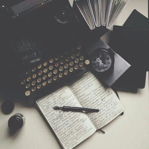 books, dark, diary, indie, typing machine, writing