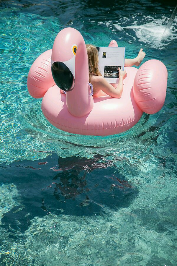 beautiful, blue, cool, cute, fashion, flamingo, float, girl, loved, pink, pool, pretty, relax, summer, swimming pool, water, boia