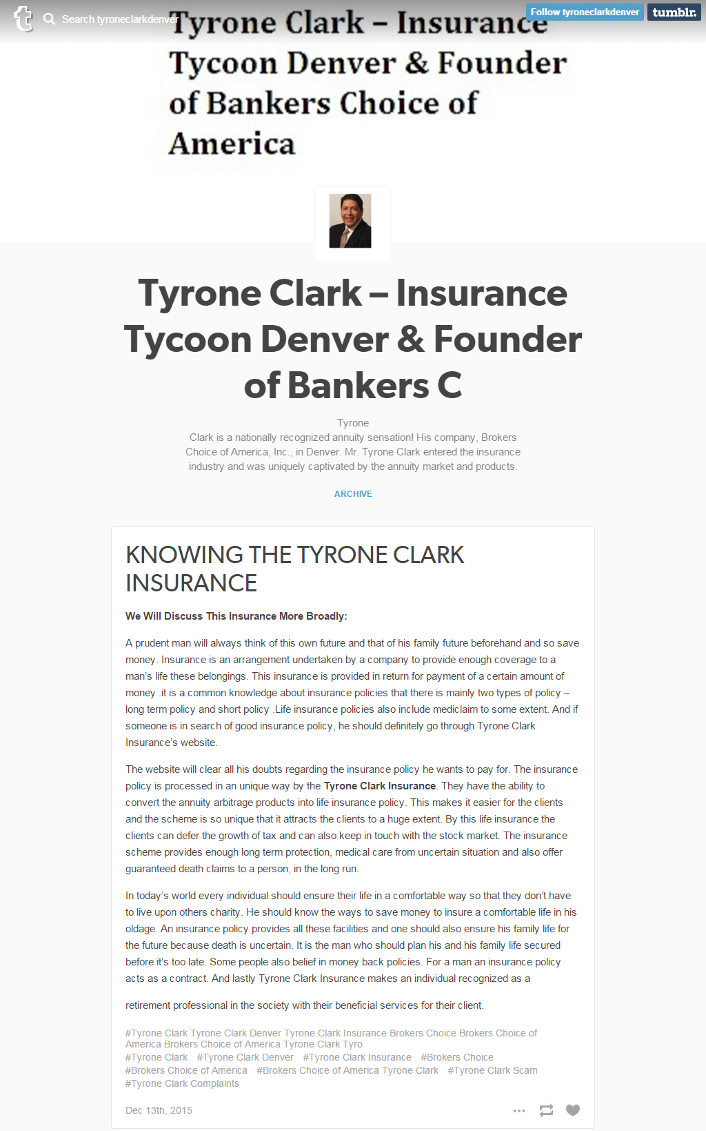 Tyrone Clark, Tyrone Clark Denver, Tyrone Clark Insurance and Brokers Choice
