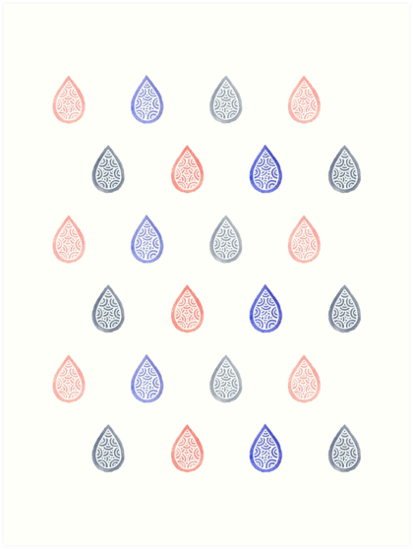 abstract, art print, blue, coral, doodles, drop, drops, gray, grey, home decor, lavender, painting, pastel, pattern, pink, raindrop, raindrops, redbubble, rose quartz, s, salmon, serene, serenity, sweet, watercolor, white, watercolor painting