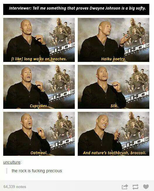 broccoli, dwayne johnson, funny, the rock, text posts