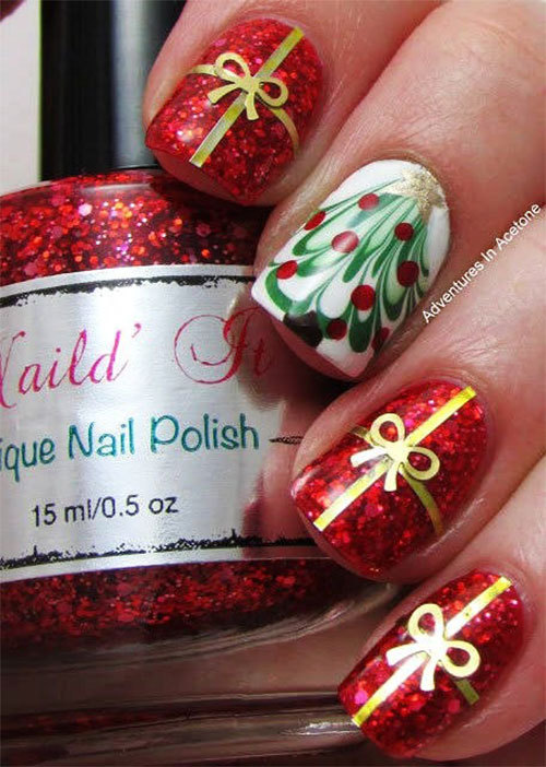 beauty, bow, bows, christmas, christmas time, christmas tree, december, dot, dots, gift, gifts, gold, green, happy new year, holiday, holidays, manicure, merry christmas, nail, nail art, nails, new year, present, presents, red, tree, white, wint