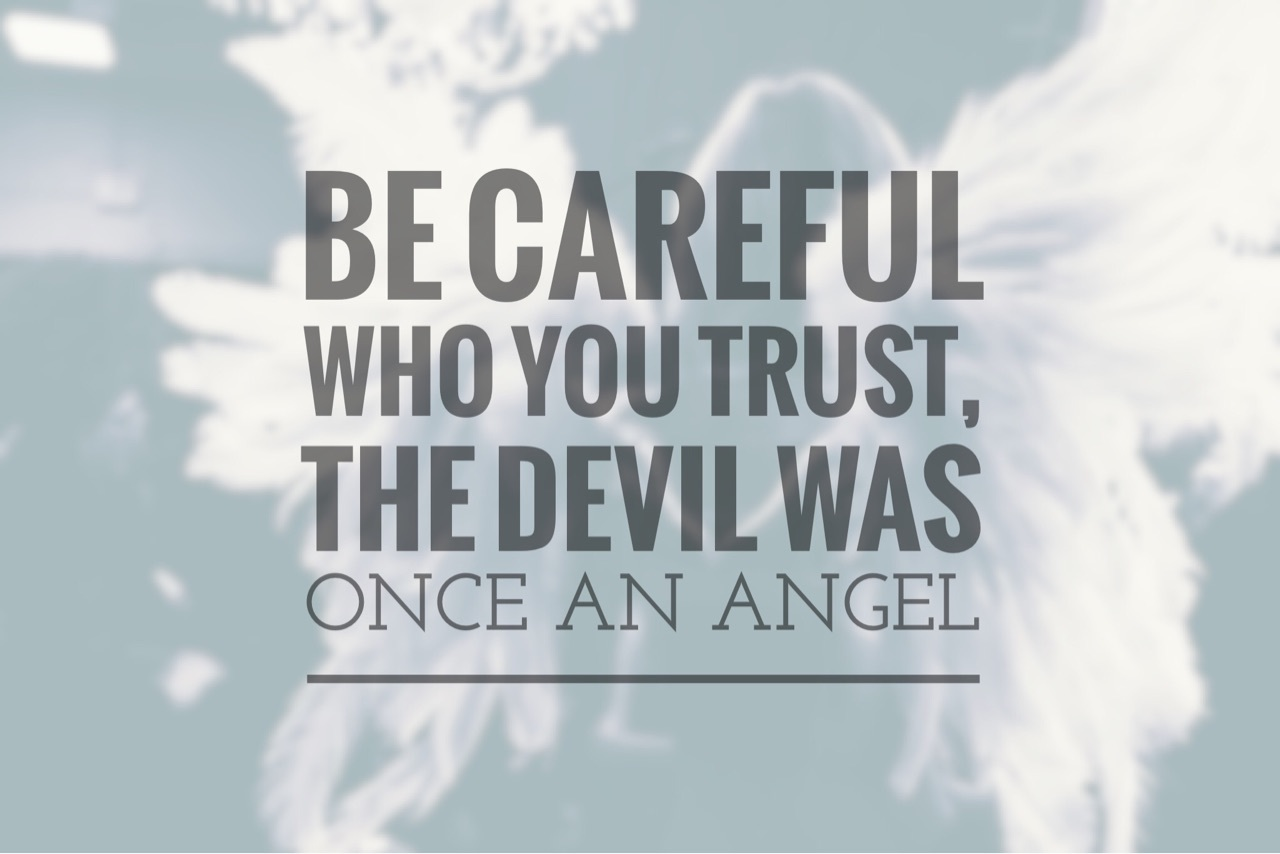angel, devil, easel and quote