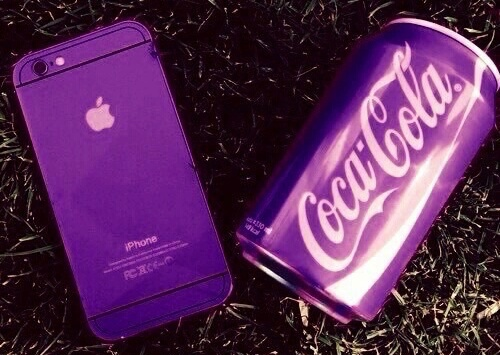 apple, cell, coca cola, inspiration, iphone, pic, purple