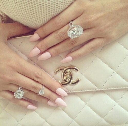 bag, chanel, chanel bag, diamonds, luxury, nails, pink, rings, stiletto nails