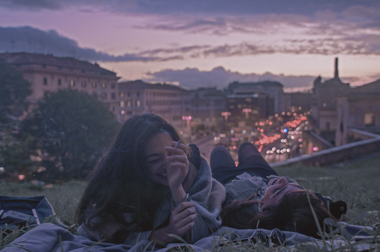 friends, travel, italy, lights, girl, rome, europe, city