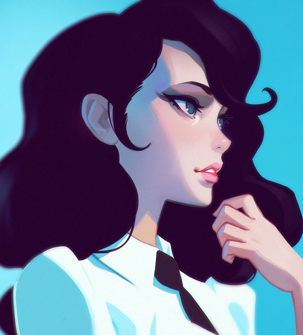 art, black haired, digital art, pretty, vintage, woman