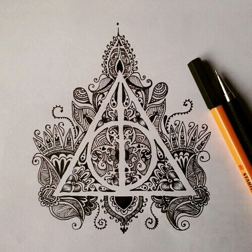 art, black and white, drawing, harry potter, indie - image ...