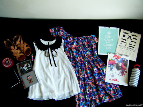 2012, blouse, calendar, cds, dress, fashion, floral, girly, keep calm, keep calm and carry on, moustache, peter pan collar, sandals, shoes, shopping, white