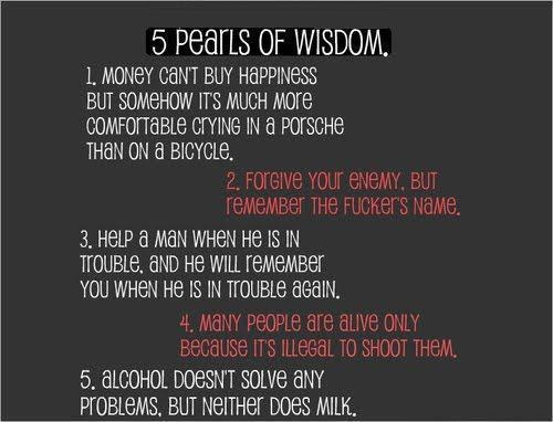 5 pearls of wisdom, alcohol, alive, enemy, fact