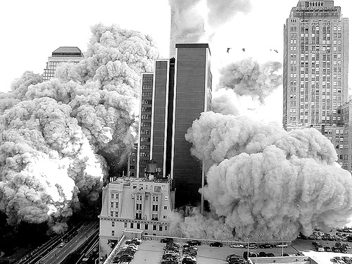 9/11, black and white, buildings smoke, new york, new york city