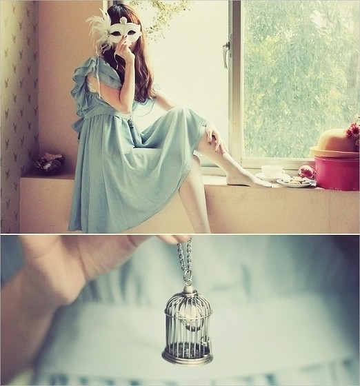 accesory, bird, blue, cage, chic, cute, dress, fashio, fashion, girl, hair, jasmine l, look, mascara, mask, outfit, princess, romantic style, sweet, vintage, window