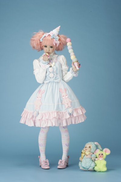 accessories, blue, bow, colored hair, cute, dress, fashion, girl, hair, ice cream, lace, lolita, lolita fashion, pink, pink hair, ribbon, shoes, sweet lolita